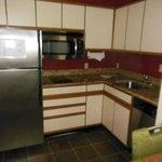 Huge refrigerator and big kitchen