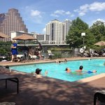 pool, lake, downtown skyline