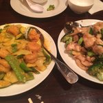 Curry coconut shrimp vs. mushroom chicken