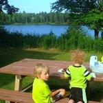 picnic dinner view of Halfway Lake.