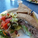 Beef sandwich and side salad