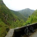 Mountain biking downhill in Banos