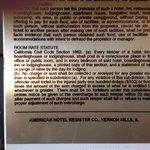 Placard showing California Civil Code
