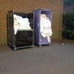 Dirty bed linen stored opposite bedrooms - gross!