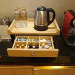 Coffee maker & tea selection