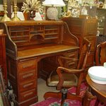 Antique oak roll top desk and chair