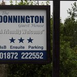 Donnington sign, easily seen from road
