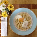 Pasta with Poached Eggs