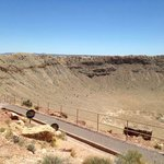 View of the visitor´s platform at the meteor crater in Arizona