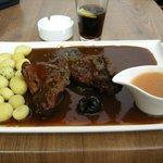 flemish-style rabbit, potatoes, beer sauce, plum sauce