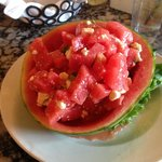 Delicious Watermelon, Feta and basil salad.  Perfect for a hot day!