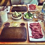 Steak On A Stone. Sirloin slithers