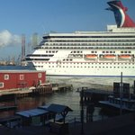 Another neat view from our room.....watching our ship pull into the dock ����