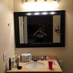 Nice new vanity next to the bathroom