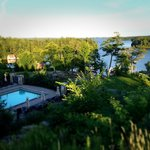 Overlooking one of the pools and a section of Lake Rosseau.