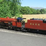 Steam engine on Eskdale railway