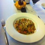 Riz aux légumes avec lapin + vin du Priorat