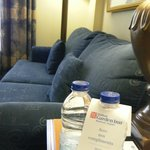 Couch and complimentary bottled water