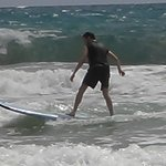 J (16 yrs) was up and surfing immediately!