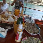Appetizers on the boat.