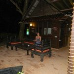 The smoking area between the dinning area and beach