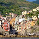 View of Riomaggiore from the water.