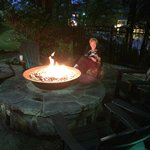 Enjoying the cool mountain area around the fire pit