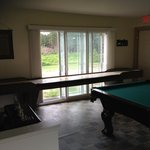 So you can't fall out the door - tilted pool table...