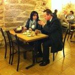 The Prime Minister of the United-kingdom David Cameron & the Mayor of Bethlehem having a Breakfa