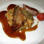 Rindfleisch, Wurstel an feinem Risotto