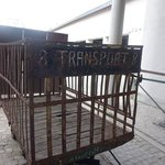 Transport cart outside the museum. Heart wrenching but important to remember the millions murder