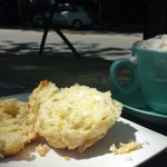 Cheese Scone and Hot Chocolate.