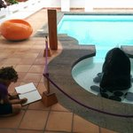 My artist son drawing by the pool at César Manrique house. Very cool experience.