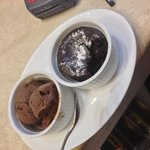 Home made chocolate soufflé with ice cream