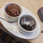 Home made chocolate soufflé with ice cream