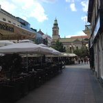 Zagreb streets cape with sidewalk cafes