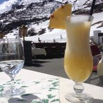 Pina Colada at lunch on the terrace after a morning of skiing