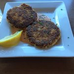The crabcakes with red pepper aoili. Yum.
