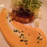Lobster and saffron risotto cake with a smoky Adobe mayonnaise
