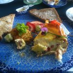 vegetable quiche, rosti and homemade bread
