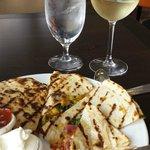 Veggie Quesadillas & a glass of Pino - delish!
