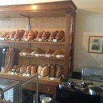 Closer up of bread shelves.