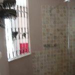 View from bathroom toward back door