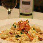 Prawn & Salmon Linguine, Seafarer Restaurant, Forster.