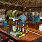 The palapa bar, with Debbie Mylius on the left.