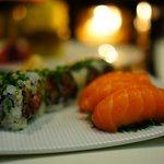 salmon nigiri and spicy tuna roll