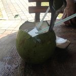 Coconut Juice for sale down the stairs
