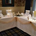 Top table decorated by hotel staff in Clansman restaurant