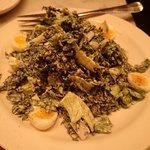 Local lacinato kale & romaine ceasar with quail eggs