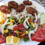 Must try! Kofte Meatballs with rice or chips.